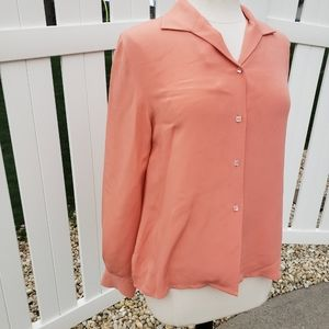 🆕Silk Doncaster Salmon Coral Button Down Blouse